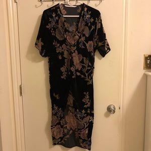 Zara black and floral wrap dress